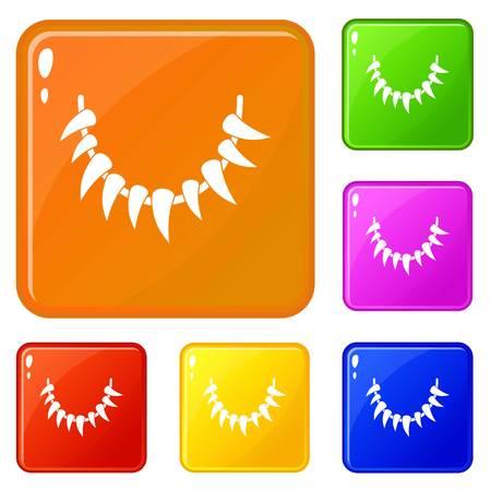 Illustration pour Tooth necklace icons set vector color - image libre de droit
