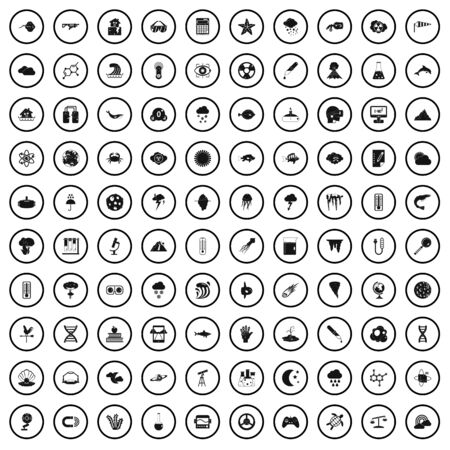 Illustration pour 100 research icons set, simple style - image libre de droit