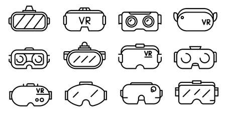 Illustration pour Game goggles icons set. Outline set of game goggles vector icons for web design isolated on white background - image libre de droit