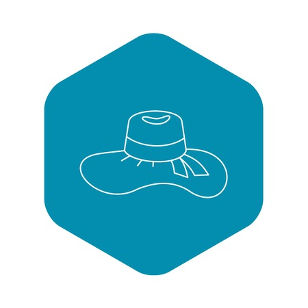 Illustration for Woman hat icon, outline style - Royalty Free Image