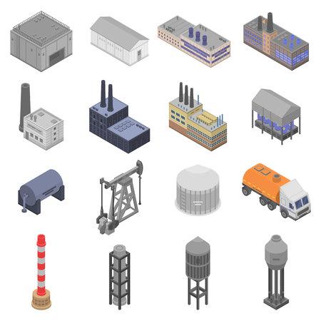 Illustration for Refinery plant icons set, isometric style - Royalty Free Image