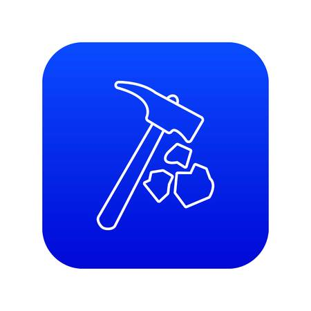 Illustration for Minning hand hammer icon blue vector isolated on white background - Royalty Free Image