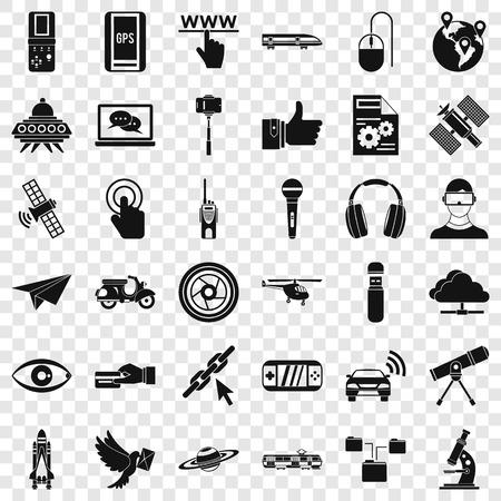 Illustration pour Broadcasting technology icons set, simple style - image libre de droit
