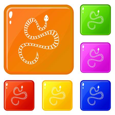 White striped snake icons set vector color