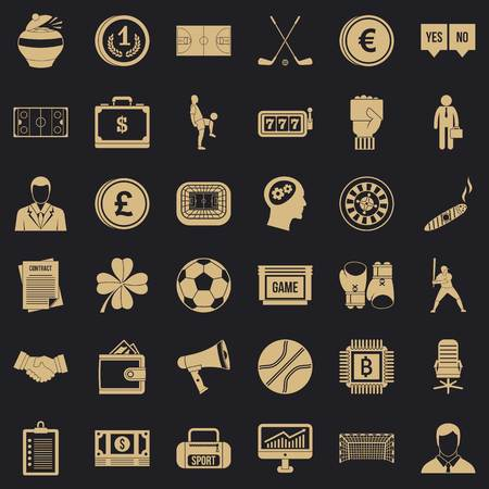 Fortune icons set, simple style
