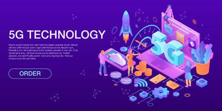Illustration pour Modern 5G technology concept banner, isometric style - image libre de droit