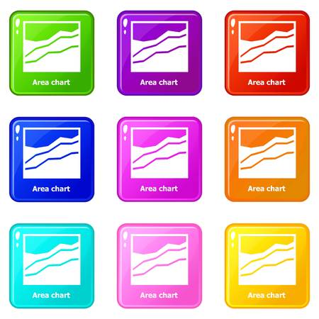 Area chart icons set 9 color collection