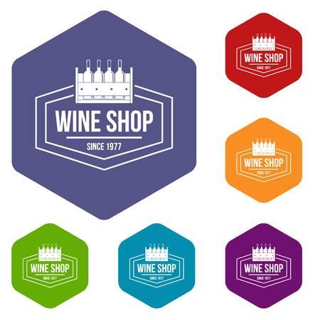 Illustration pour Wine shop icons vector hexahedron - image libre de droit