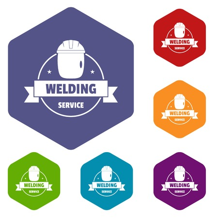 Welding mask icons vector hexahedron