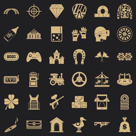 Illustration pour Slot machine icons set, simple style - image libre de droit