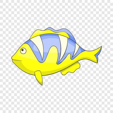 Yellow tropical stripped fish icon. Cartoon illustration of yellow tropical stripped fish vector icon for web
