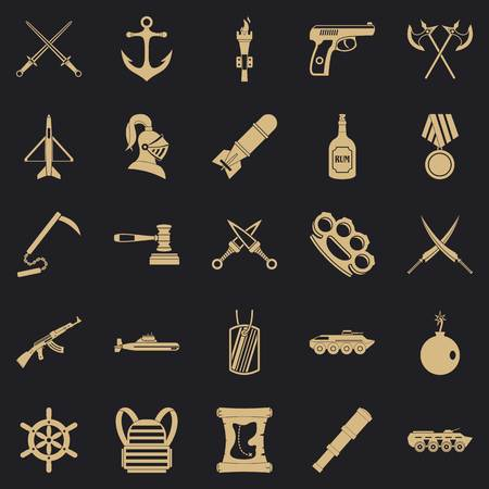 Illustration for Armor icons set, simple style - Royalty Free Image