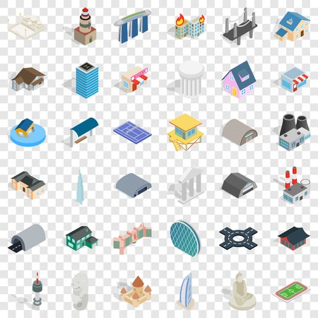 Screen icons set, isometric style