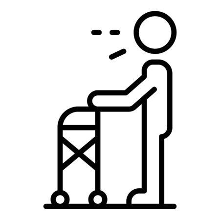 Illustration pour Senior man walker icon. Outline senior man walker vector icon for web design isolated on white background - image libre de droit