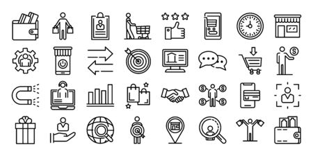 Illustration for Buyer icons set, outline style - Royalty Free Image