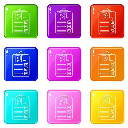 Clipboard with PL icons set 9 color collection isolated on white for any design