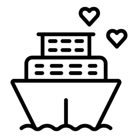 Illustration pour Honeymoon ship cruiser icon. Outline honeymoon ship cruiser vector icon for web design isolated on white background - image libre de droit