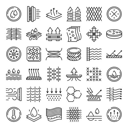 Illustration for Fabric feature icons set. Outline set of fabric feature vector icons for web design isolated on white background - Royalty Free Image