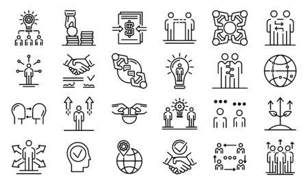 Illustration pour Business cooperationicons set, outline style - image libre de droit
