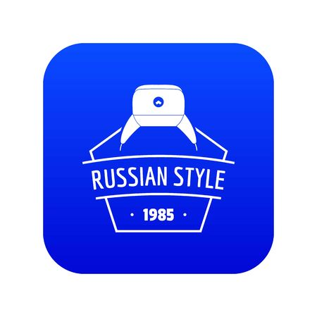 Russian style icon blue vector
