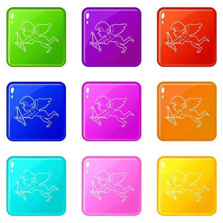 Cupid icons set 9 color collection isolated on white for any design