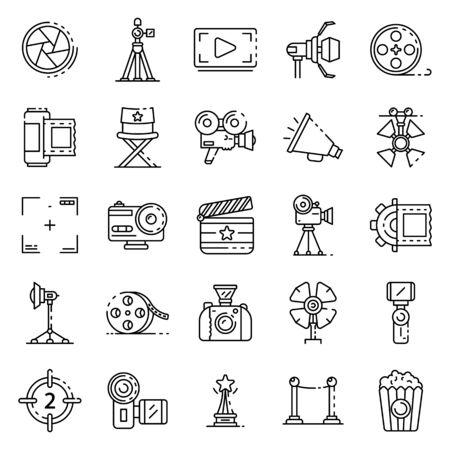 Photo pour Film production icons set, outline style - image libre de droit