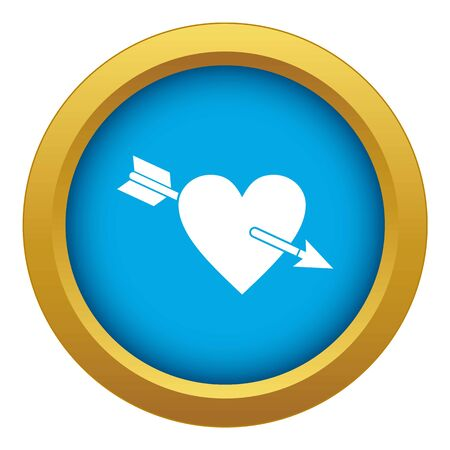 Heart with arrow icon blue isolated