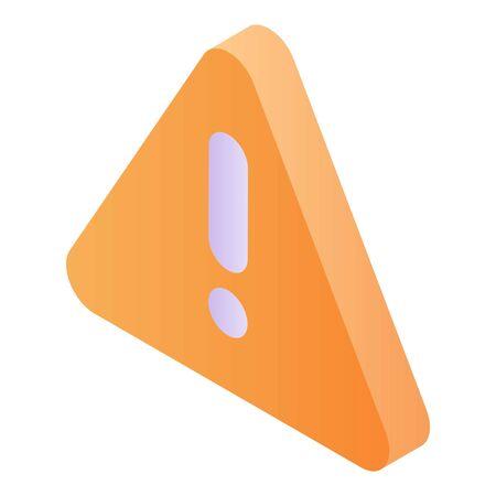 Warning sign icon, isometric style
