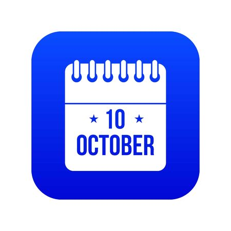 Foto per 10 october calendar icon digital blue - Immagine Royalty Free