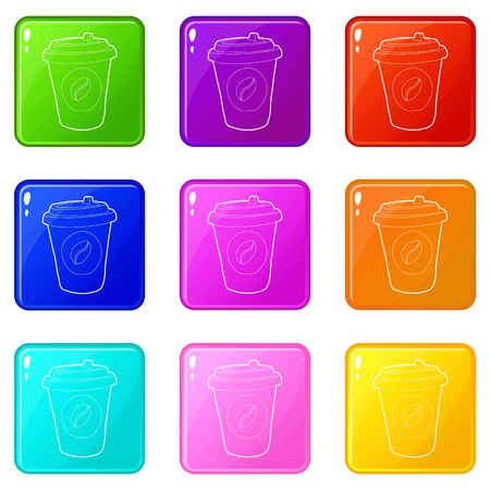 Illustration pour Plastic cup of coffee icons set 9 color collection isolated on white for any design - image libre de droit