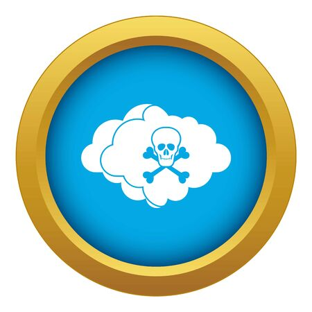 Cloud with skull and bones icon blue vector isolated on white background for any design