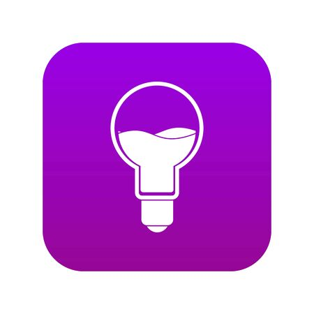 Illustration pour Light bulb with blue water inside icon digital purple for any design isolated on white vector illustration - image libre de droit