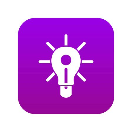 Illustration pour Glowing light bulb icon digital purple for any design isolated on white vector illustration - image libre de droit