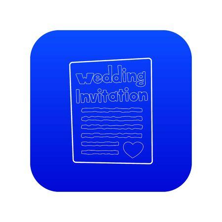 Invitation icon blue vector