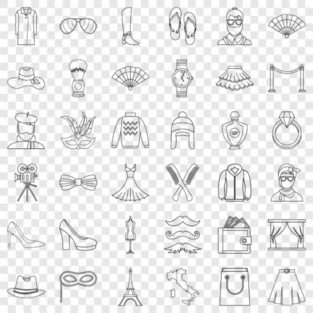Fashion icons set, outline style