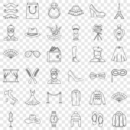 Model icons set, outline style