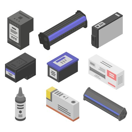 Illustration pour Cartridge icons set. Isometric set of cartridge vector icons for web design isolated on white background - image libre de droit