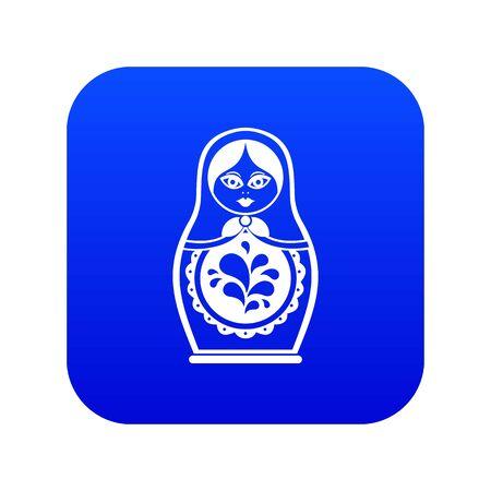 Photo pour Matryoshka icon digital blue - image libre de droit
