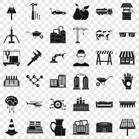 Illustration for Market icons set, simple style - Royalty Free Image