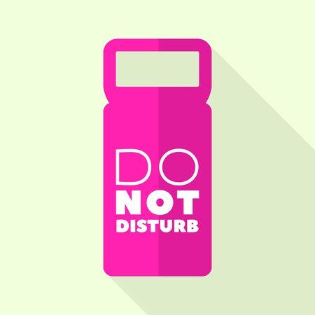Illustration pour Pink door tag icon, flat style - image libre de droit