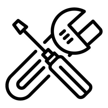 Wrench screwdriver icon, outline style
