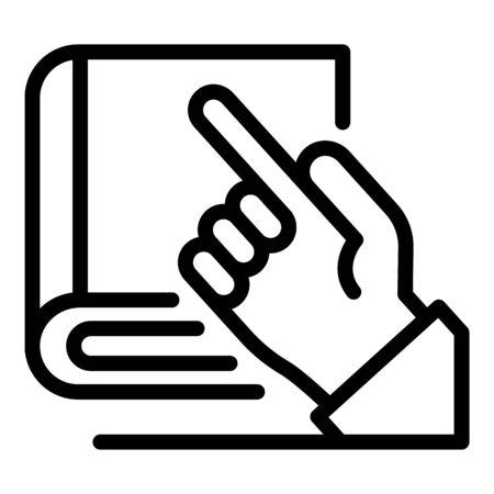 Illustration pour Hand and book of laws icon, outline style - image libre de droit