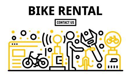 Illustration pour Bike rental banner, outline style - image libre de droit