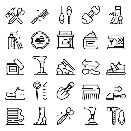 Illustration pour Shoe repair icons set. Outline set of shoe repair vector icons for web design isolated on white background - image libre de droit