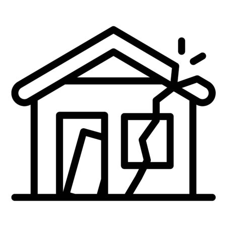 Illustration for Destroyed house icon, outline style - Royalty Free Image