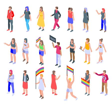 Illustration for Transgender people icons set, isometric style - Royalty Free Image