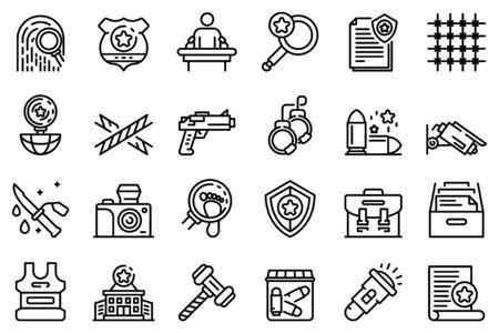 Ilustración de Investigator icons set. Outline set of investigator vector icons for web design isolated on white background - Imagen libre de derechos
