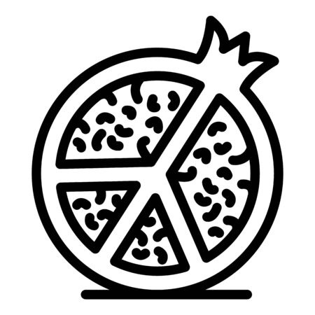 Illustration for Half pomegranate icon, outline style - Royalty Free Image