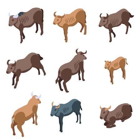 Photo pour Wildebeest icons set, isometric style - image libre de droit