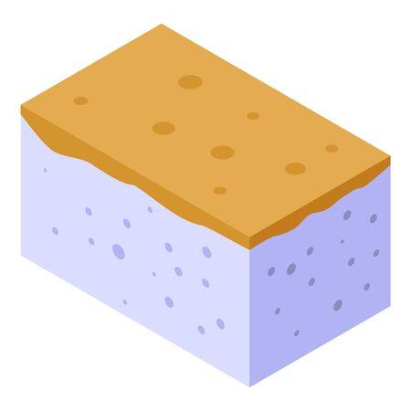 Polyurethane foam finishing icon, isometric style